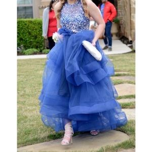 Blue Two Piece Beaded Halter Sequin Prom Dress
